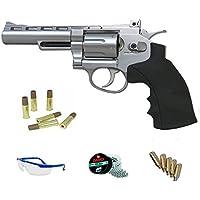 """FS 1002 4"""" PACK Revólver de aire comprimido (CO2) y balines de acero (perdigones BBS) calibre 4.5mm. Réplica Dan Wesson + accesorios <3,5J"""