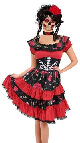 Für Immer Junge Damen Tag der Toten Kostüm Sugar Skull Skeleton Frauen Halloween Abendkleid UK 8 EU ()