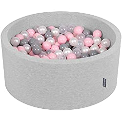 KiddyMoon 90X40cm/300 Balles ∅ 7Cm Piscine À Balles pour Bébé Rond Fabriqué en UE, Gris Clair: Perle-Gris-Transparent-Rose Poudré
