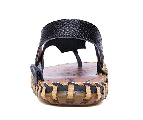 SHIXR Hommes Open Back Pantoufles New Summer Hommes Cuir Sandales Tide Clip Pieds Flip Flops Hommes Cool Sandales Chaussures Black