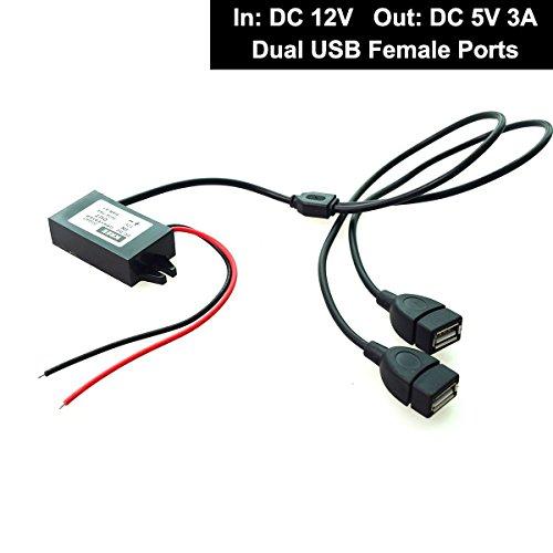 Doublé Usb Femelle Chargeur Voiture Auto 12V vers 5V 3A pour Dashcam GPS SAMSUNG Téléphone Mobile Boite Tablette
