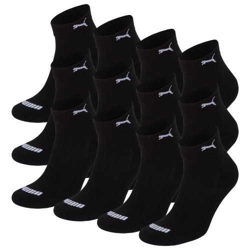 PUMA Unisex Match Quarters Socken Sportsocken MIT FROTTEESOHLE 12er Pack black 200 - 43/46