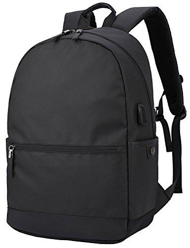 BACKKTCL Laptop Backpack, College Back Bag with USB Charging Port Water Resistant Lightweight Business Travel Bag Fits Under 17-Inch Laptop and Tablets (BLACK)