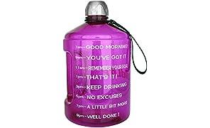 BuildLife 1 Gallon Water Bottles giornaliera idratazione Acqua Tracker-Time segnato ottimizza la Bevanda 3.78l di Acqua per Tutto Il Giorno.Assicuratevi idratandovi