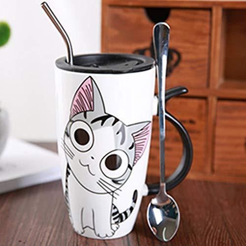 FUXIAOCHEN Nette Katze Keramik Kaffeetasse Mit Deckel Große Kapazität 600 Ml Tier Becher Kreative Drinkware Kaffee Tee Tassen Neuheit Geschenke Milch Tasse, B