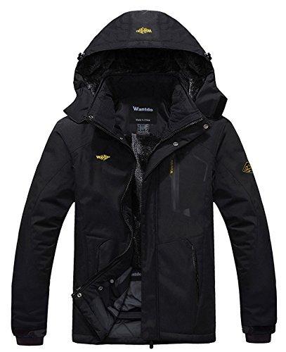 Wantdo Chaqueta de Montaña Esquí Impermeable para Hombres Negro 3X-Large