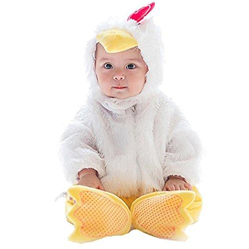 Omiky® Baby Halloween Tier Kostüm Hooded Bodysuit Footies Spielanzug Onesie Outfit (100CM, Weiß)