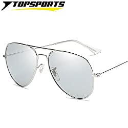 Lepakshi Silver Frame Grey Le: Men Polarized Photochromic Sunglasses Outdoor Sports Glasses Uv400 Eye Protective Day Night Vision Driving Eyewear Tac