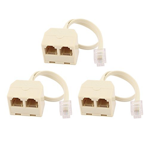 Saim RJ11 6P4 C 2 Way Auslass Telefon Jack Line-Splitter Adapter Beige -