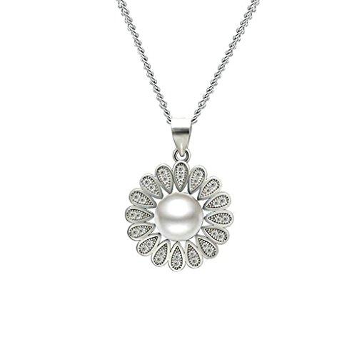 Gnzoe Schmuck Damen Halskette 925 Silber Blumen Cultured Perle Form Anhänger Elegant Silberkette Damenkette Silber Größe 1.8x2.6 CM mit Zirkonia