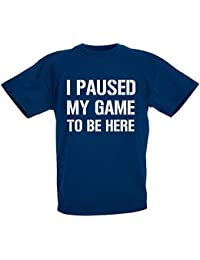 loltops I Paused My Game to Be Here Novelty T-Shirt for Boys, Kids