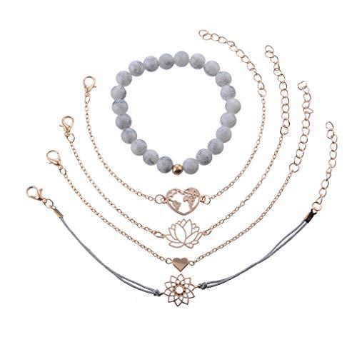LIGHTBLUE HELLBLAU 5 Teile/Satz Böhmischen Perlen Herz Blume Karten Armband Weben Mehrschichtiges Armband Set Frauen Armband Schmuck Geschenk (Erweiterbare Armbänder Mit Charms)