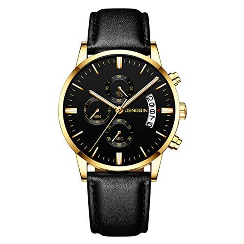 Armbanduhr herren Liusdh Uhren 20 Art von 3 Auge 6-Pin-Multi-Dial mit einzelnen Kalender Leaderband exquisite Herren Business Geschenk Uhr(J,Einheitsgröße)