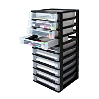 Iris Ohyama Europe A- 4 Chest with 10 (Without Wheels), Tower Unit six, Drawer Organiser, Plastic Office drawers-OCH-2100, Black, 35.5x26x81.5cm