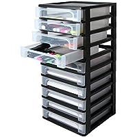 Iris 130006 - Atril de oficina, plástico, 10 cajones, color negro y transparente