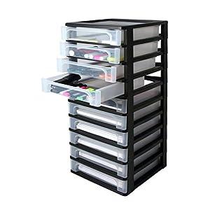 cajones: IRIS 130006 - Atril de Oficina, plástico, 10 cajones, Color Negro y Transparente