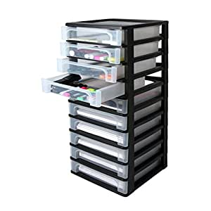iris ohyama europe och 2100 plastic a 4 drawer chest with 10 drawer organiser black. Black Bedroom Furniture Sets. Home Design Ideas
