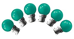 Wipro Safelite N10005 B22 0.5-Watt LED Night Lamp (Green, Pack of 6)