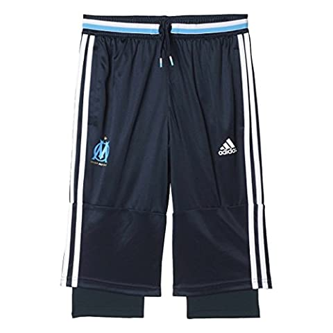 adidas - Olympique Marseille - Pantalon 3/4 - Mixte Enfant - Bleu (Night Navy/White/Om Blue) - FR: 15-16 ans (Taille Fabricant: 176 cm)