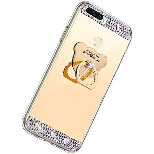 Herbests Kompatibel mit Huawei Honor V9 Glänzend Diamant Kristall Strass Glitzer Spiegel TPU Handyhülle Handytasche Silikon Schutzhülle TPU Bumper Case mit Handy Fingerhalterung,Gold