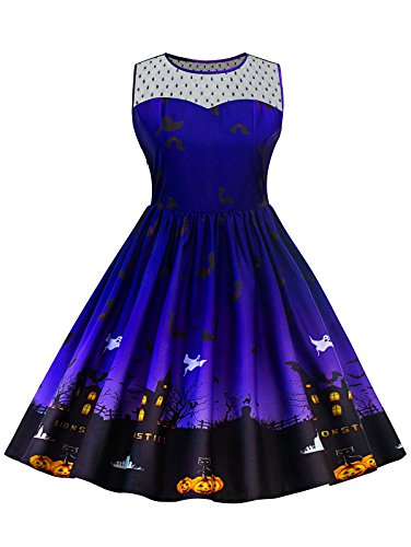 ge Plus Size Illusion Neck Ärmellos Halloween Swing Knielang Kleid (XXXXL, Blau) (Plus Size Halloween Kleid)