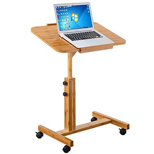GWF Computertisch-Multipurpose-Mobiler Bettstuhl Tisch , Sofa Seite Notebook Laptop Schreibtisch , Holzständer höhenverstellbar abschließbar 4 Rollen & Holzplatte (2 Größen) (Size : A) - Multi Purpose Leinwand