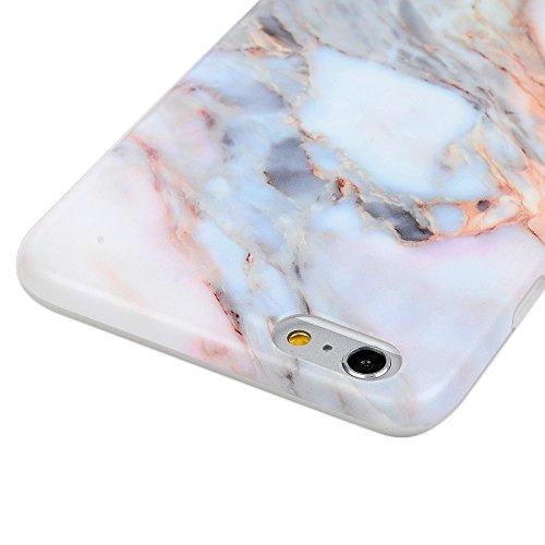 Badalink Coque iPhone 6 plus / iPhone 6s plus, Case Housse Étui Bumper Coque TPU Silicone Gel Mat Souple Flexible Ultra Mince Slim Léger Anti Rayure Antichoc Housse Étui Motif Marbre Blanc + Bouchon A Marbre