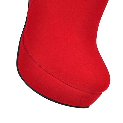 VogueZone009 Femme à Talon Haut Haut Bas Couleur Unie Zip Bottes avec Chaînes Rouge
