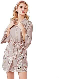 Mini Balabala Mujer Vestido Kimono Corto Pijama Bata Satén Estampado Flores Ropa de Dormir 3/