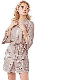 ba3fccab0e Mini Balabala Mujer Vestido Kimono Corto Pijama Bata Satén Estampado Flores  Ropa de Dormir 3