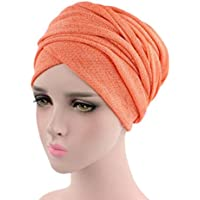 22e60f81da44ee CLOOM Damen Krebs Chemo Hygiene Alopezie Make-up Hut Falten Stretch Schal  Turban Mützen Einfarbig