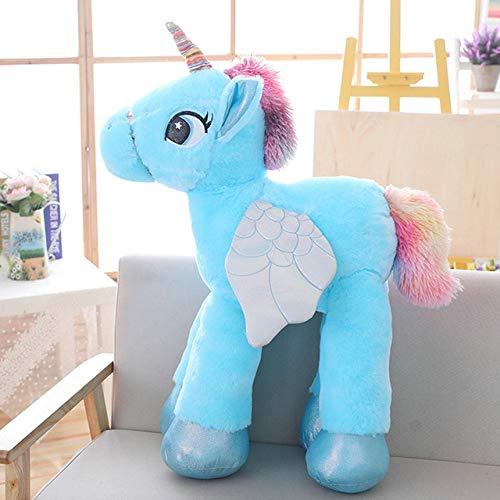 YOUHA 60/90/120 cm Einhorn Plüschtiere Jumbo Gefüllte Weiche Tier Pferd Puppe Wohnkultur Geburtstagsgeschenk für Kinder Liebhaber Kinder 90 cm Blau