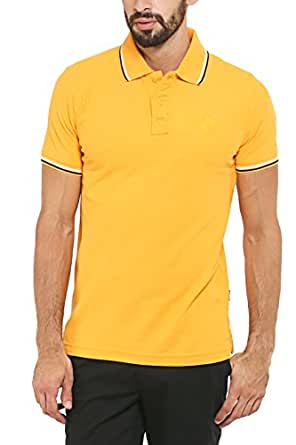 Classic Polo Men's Insta Dry Cotton Yellow Half Sleeve T-Shirt