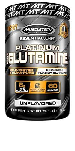 Muscletech Platinum 100 % Glutamine 60 Serv - Suplemento de glutamina, 302 gr
