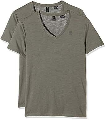 G-STAR RAW  Herren T-Shirt Base V T s 2er Pack, Grün (Orphus 722), S (Herstellergröße S)