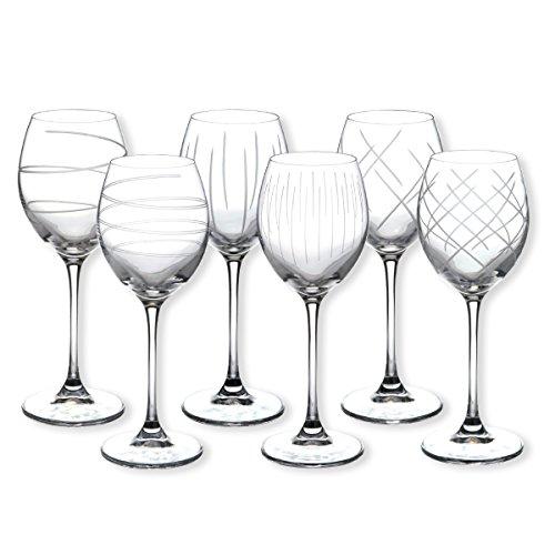 Bruno Evrard Verres à vin taillé motifs assortis 25cl - Coffret de 6 - SAGA