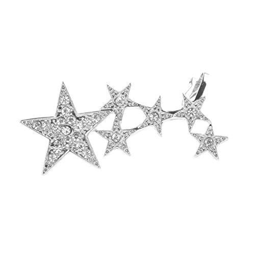 FITYLE 1pc Estrella Larga Rhinestone Ear Cuff Clip En El Pendiente De Las Naves Punk Oreja Derecha Joyería - Plata