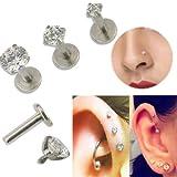 Piercing redondo para el cartílago, oreja o nariz con gema 16G