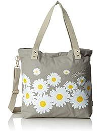 Adelheid Damen Glücklich Blume Einkaufstasche Henkeltasche, 10 x 39 x 35 cm