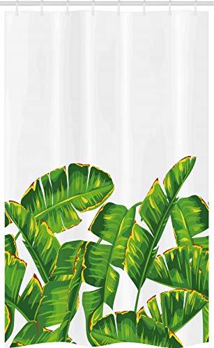 ABAKUHAUS La Nature Rideau de Douche Stalle, Feuillage Tropical Vibrant, Ensemble de Salle de Bain en Tissu en Crochets, 120 x 180 cm, Hunter Vert Jaune