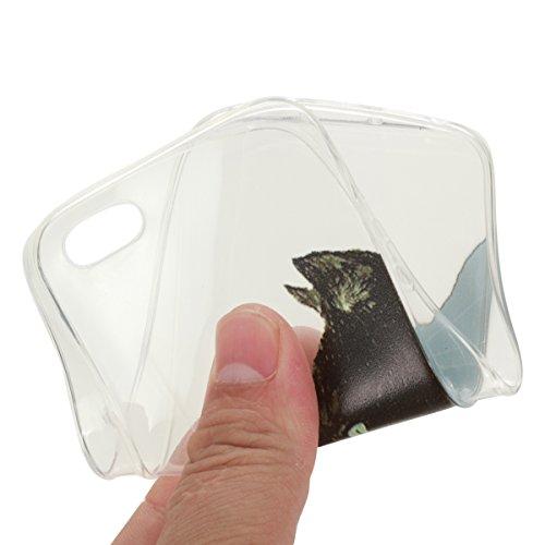 iPhone 5S Hülle,iPhone SE Case,iPhone 5 Cover - Felfy Ultradünnen Klar Delfine Pattern Handyhülle für iPhone 5S 5 Soft Flexible Weich TPU Silikon Schutzhülle Etui Bumper Case + 1x Schutzfolie Screen + Schwarze Eule Schutz