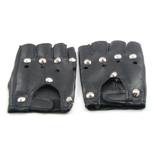 WMA Kunstleder-Handschuhe ohne Finger, mit Nieten, Gothic- / Biker- / Fahrradhandschuhe