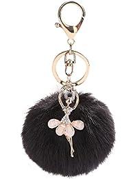 8eb61e1862 Cute Dancing Angel Plush Ball Keychain, Vneirw artificiale pelliccia di  coniglio portachiavi portachiavi per borsa