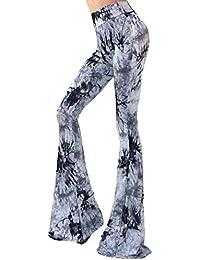 Pantalon Elastico Mujer Pantalones Estampado Llamarada Ancho Pierna Palazzo Pantalones Azul 3XL