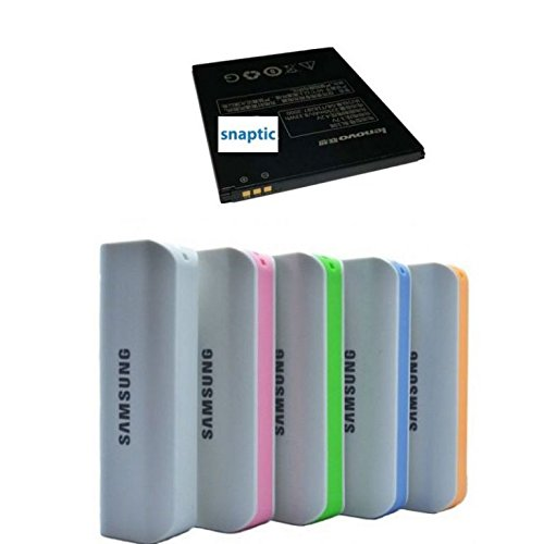 Pack of two Snaptic OEM Li Ion Polymer Battery For Lenovo A7000 With Samsung 2600mah Powerbank