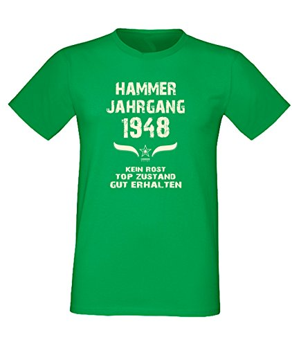 Sprüche Fun T-Shirt Jubiläums-Geschenk zum 69. Geburtstag Hammer Jahrgang 1948 Farbe: schwarz blau rot grün braun auch in Übergrößen 3XL, 4XL, 5XL grün-01