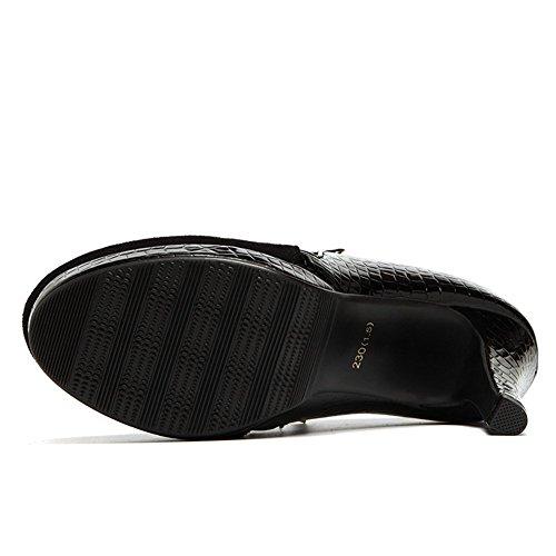 Moderne Damen Sexy Kurzschaft Plateau Wildleder mit Druckknopf Reißverschluss Stiletto super hoch schmale Ferse Lässige Schuhe Martin Stiefeln Schwarz