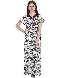 5b14be0053 Patrorna Cotton Silk Blend Women s Embellished Empire Nighty Night Dress  Gown in Black Print (Size