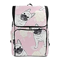 Laptop Backpack White Pug Dog Pattern Pink Background Large Capacity Bag Travel Daypack