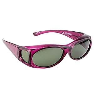Figuretta SUR-LUNETTES DE SOLEIL | VIOLET | lunettes de soleil polarisée | Protection UV 400 | Surlunettes | Lentilles polarisées